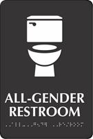 All-Gender Restroom Braille Sign, Toilet Bowl Symbol