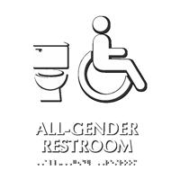 All-Gender ISA Restroom Braille, Toilet Symbol Sign