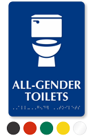 All-Gender Toilets Sintra Braille Restroom Sign