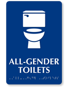 All-Gender Toilets Sintra Braille Restroom Sign