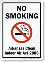 NO SMOKING Arkansas Clean Air Act Sign