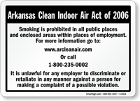 Arkansas Clean Indoor Air Act 2006 Sign