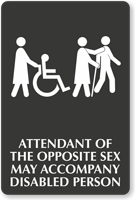 Accompany Disabled Person Select-a-Color Engraved Sign