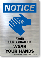 Notice Avoid Contamination Wash Your Hands