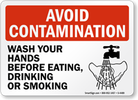 Avoid Contamination Wash Hands Before Eating Sign