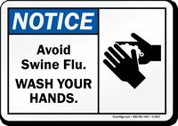 Notice Avoid Swine Flu Sign