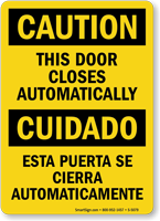 Bilingual This Door Closes Automatically Sign