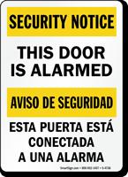 This Door Is Alarmed Bilingual Security Notice Sign