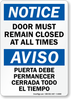 Bilingual Door Must Remain Closed Sign