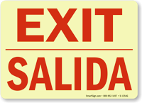 Bilingual Exit Salida Glow Sign