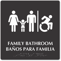 Bilingual Family Braille Bathroom Sign, Updated ISA Symbol