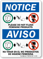 Please Don't Flush Feminine Products Bilingual Sign