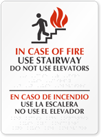 Bilingual In Case of Fire Use Stairway Braille Sign