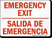 Bilingual Emergency Exit Salida De Emergencia Sign