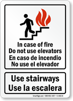 Bilingual In Case of Fire Use Stairways Sign