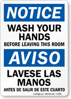 Notice Wash Hands Before Leaving Sign Bilingual