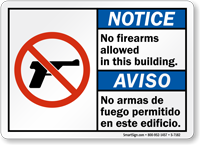Bilingual No Firearms Allowed In This Building Sign
