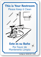 Bilingual This Restroom Please Clean Sign