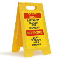 Bilingual Restroom Closed For Cleaning Standing Sign