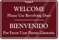 Bilingual Use Revolving Door Sign