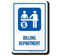 Billing Department Hospital Sign with Billing Counter Symbol