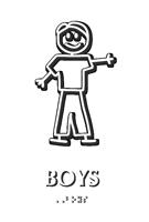 Boys Stick Figure TactileTouch Braille Restroom Sign