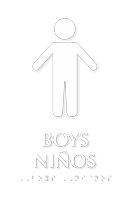 Boys Ninos Bilingual TactileTouch Braille Restroom Sign