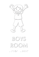 Boys Room Braille Sign With Boy Symbol