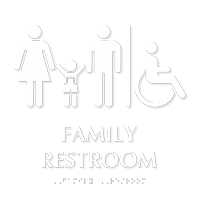Family Restroom Men, Women, Child Sign