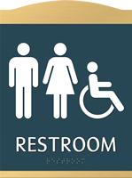 Restroom, Male/Female/ISA Handicapped Graphic and Braille Sign