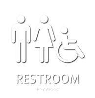 Restroom, with Male/Female/ISA Handicapped Graphic Braille Sign