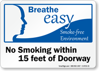 No Smoking Within 15 Feet Of Doorway Sign