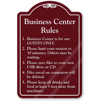 Business Center Rules ShowCase Sign