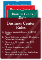 Business Center Rules Sign