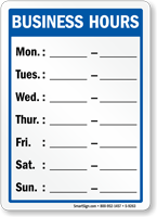 Weekly Business Hours Of Operation Sign