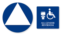 California Wall Door All-Gender Restroom, 2 Signs/Kit