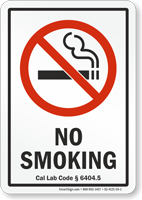 California No Smoking Sign