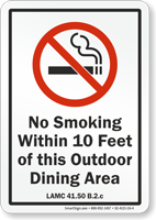 Los Angeles No Smoking Within 10 Feet Of Area Sign