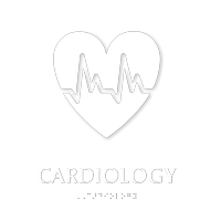 Cardiology Braille Hospital Sign with Heart's ECG Symbol