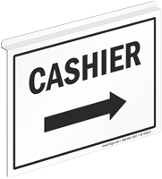 Cashier 2 Sided Z Sign for Ceiling