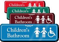 Children Bathroom Engraved Sign