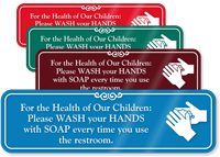 Wash Hands With Soap After Using Restroom Sign