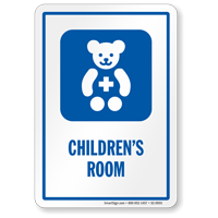 Children's Room Sign with Teddy Symbol