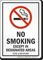 Colorado No Smoking Except In Designated Areas Sign