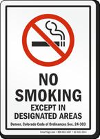 Denver No Smoking Except In Designated Areas Sign