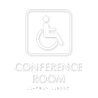 Conference Room with Handicap Wheelchair Braille Sign