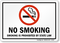 NO SMOKING PROHIBITED STATE LAW Sign