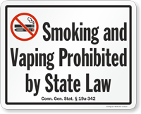 Connecticut Smoking And Vaping Prohibited Sign