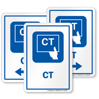 CT Diagnostic Center Sign with Computed Tomography Symbol