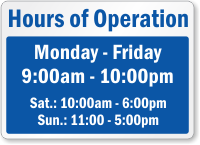 Personalized Hours Of Operation Sign